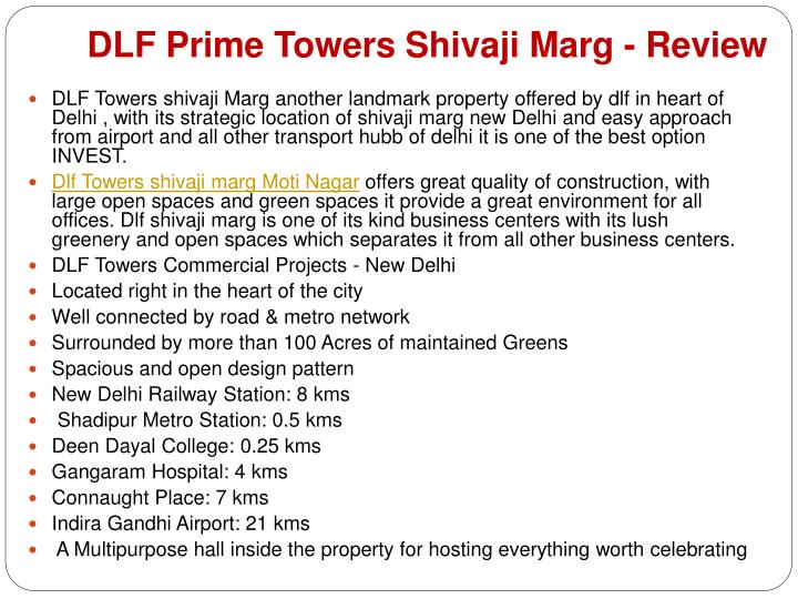 Dlf prime towers shivaji marg review