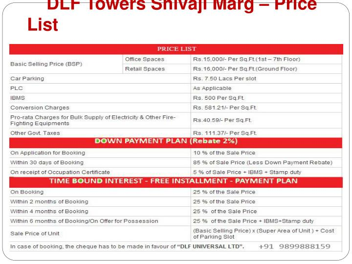 DLF Towers Shivaji Marg – Price List