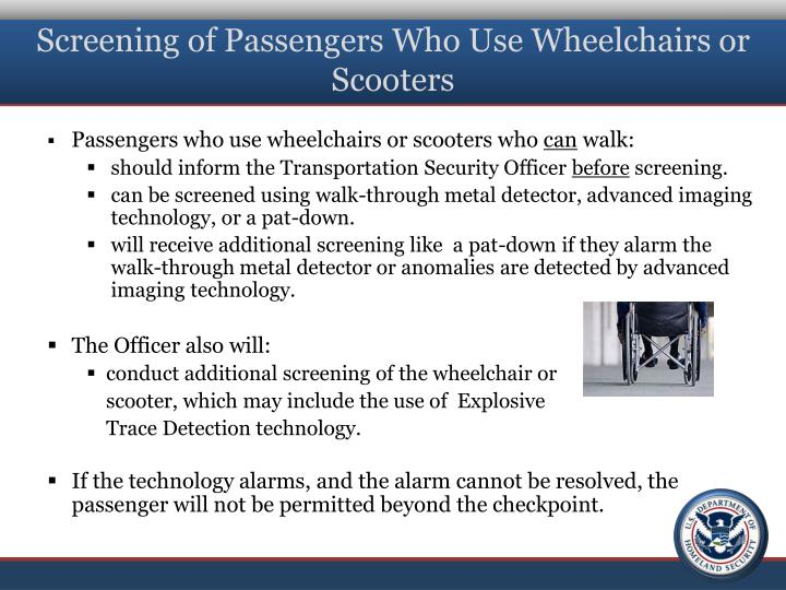 Screening of Passengers Who Use Wheelchairs or Scooters