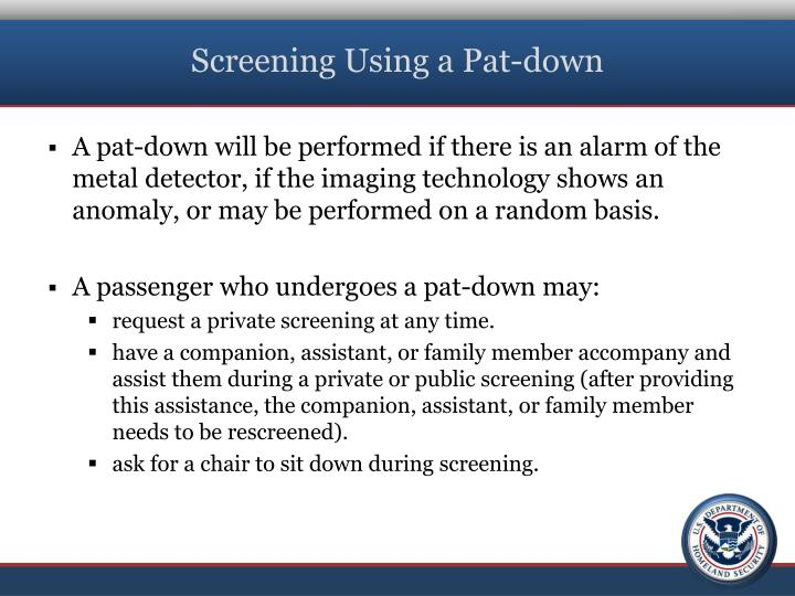 Screening Using a Pat-down