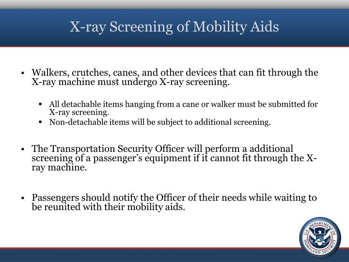 X-ray Screening of Mobility Aids