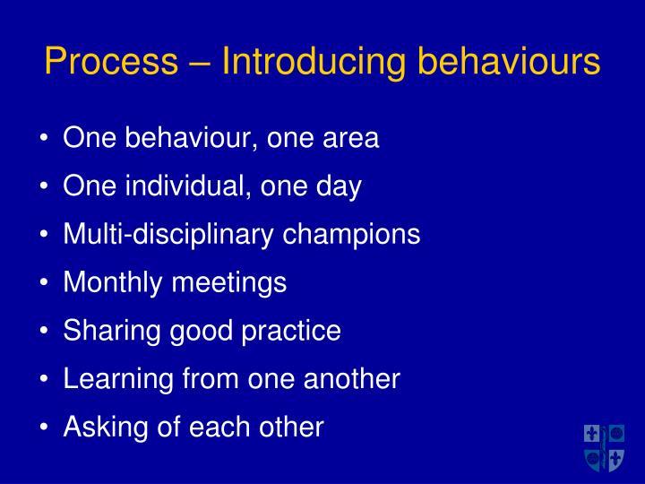 Process – Introducing behaviours