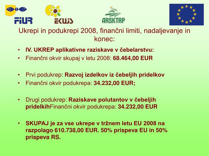 Ukrepi in podukrepi 2008, finančni limiti, nadaljevanje in konec: