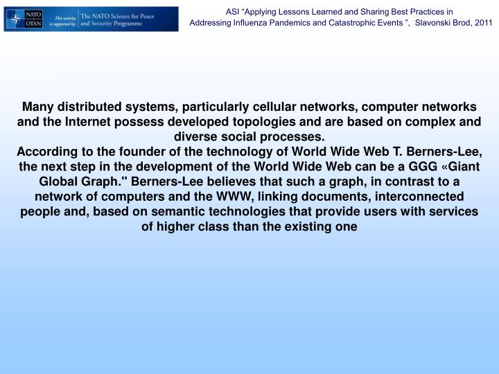 Many distributed systems, particularly cellular networks, computer networks and the Internet possess developed topologies and are based on complex and diverse social processes.