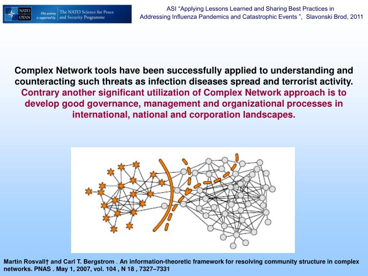 Complex Network tools have been successfully applied to understanding and counteracting such threats as infection diseases spread and terrorist activity.