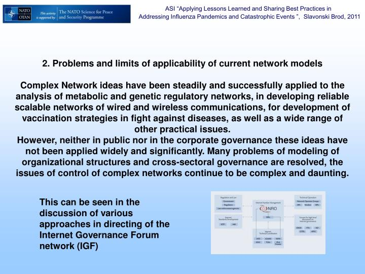2. Problems and limits of applicability of current network models