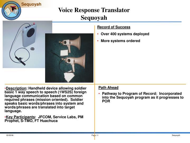 Voice Response Translator
