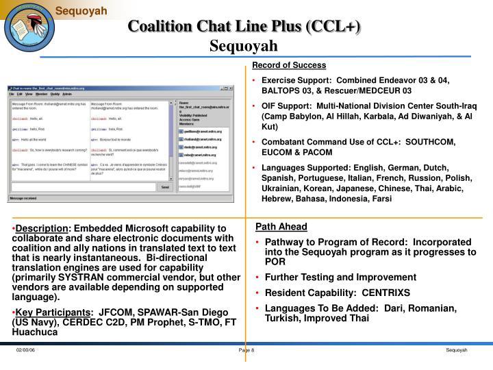 Coalition Chat Line Plus (CCL+)