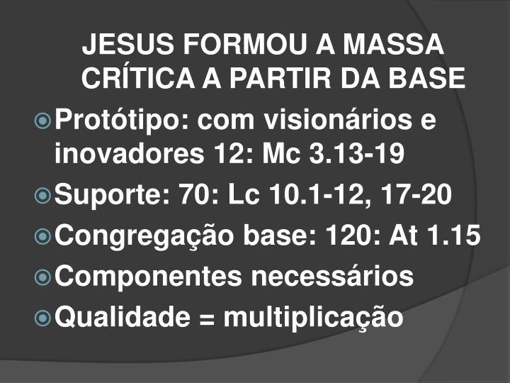 JESUS FORMOU A MASSA CRÍTICA A PARTIR DA BASE