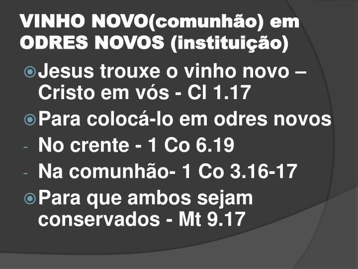 VINHO NOVO(comunhão