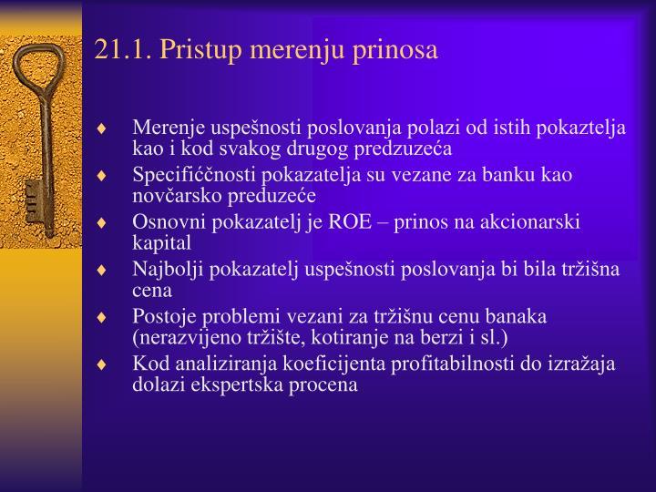 21.1. Pristup merenju prinosa