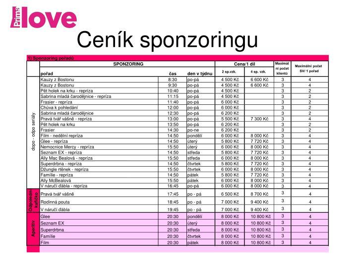1) Sponzoring pořadů