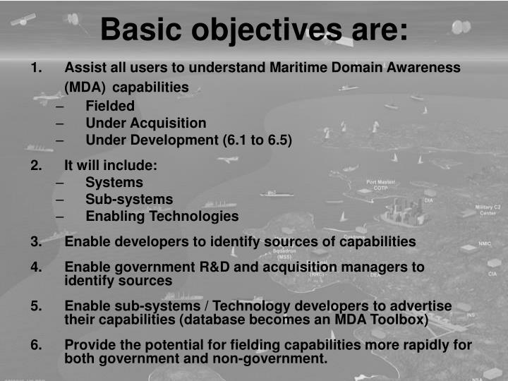 Basic objectives are: