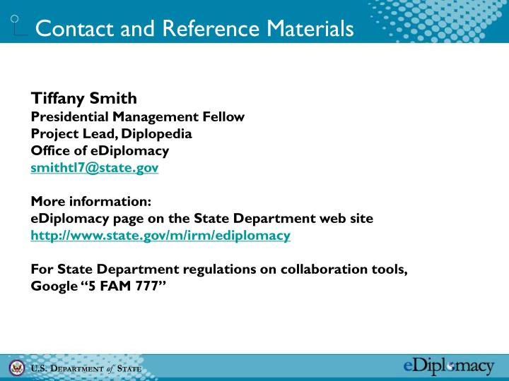 Contact and Reference Materials