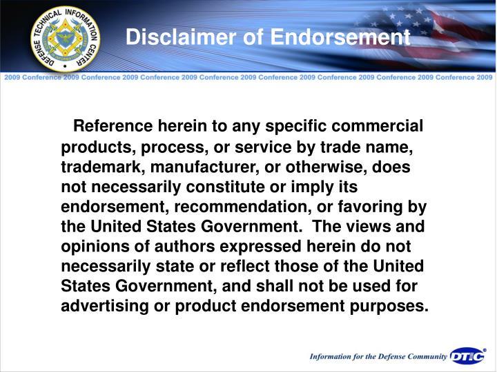 Disclaimer of Endorsement