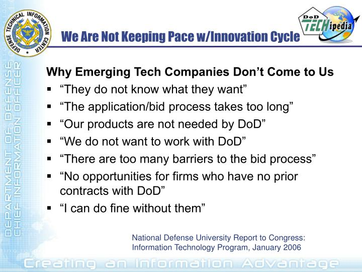 We Are Not Keeping Pace w/Innovation Cycle