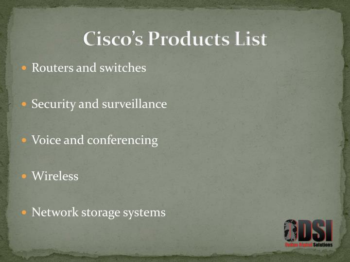 Cisco's Products List