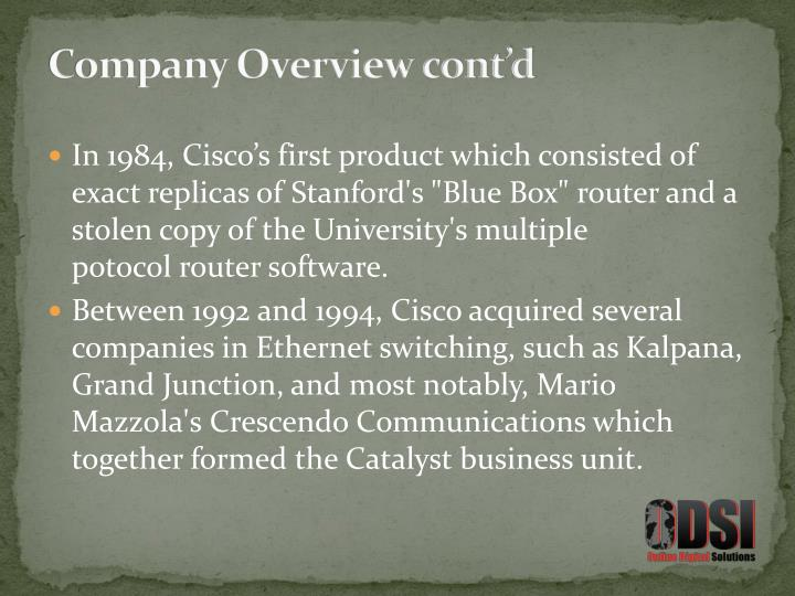 Company Overview cont'd