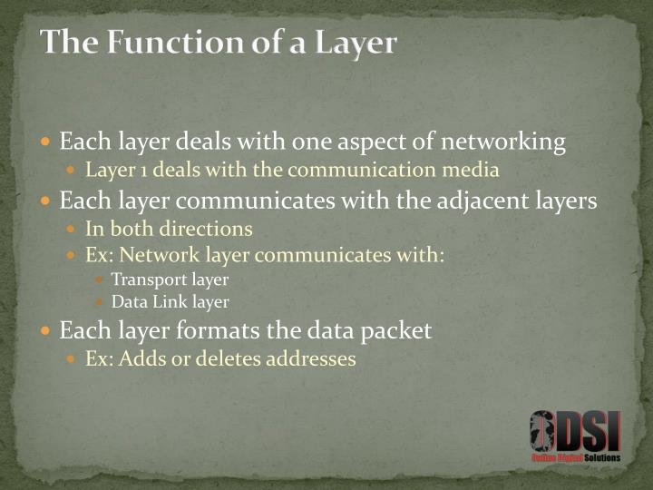 The Function of a Layer