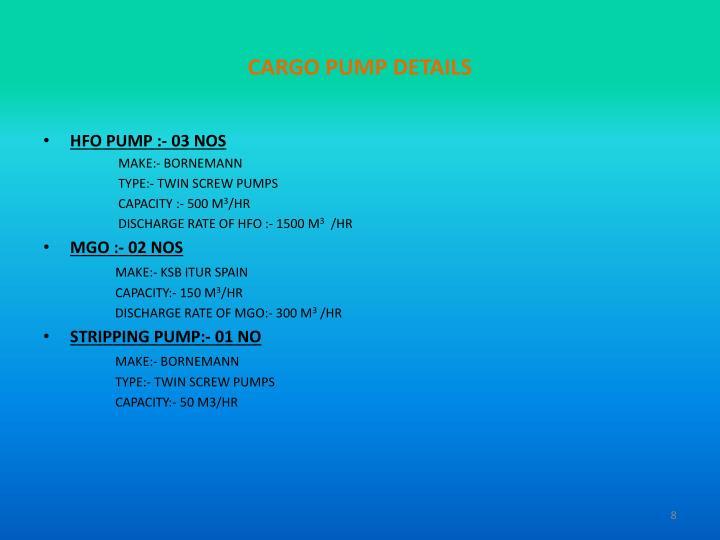 CARGO PUMP DETAILS