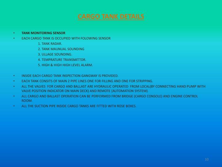 CARGO TANK DETAILS