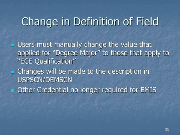 Change in Definition of Field