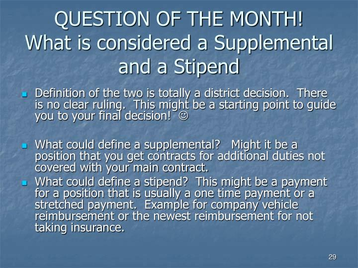 QUESTION OF THE MONTH!