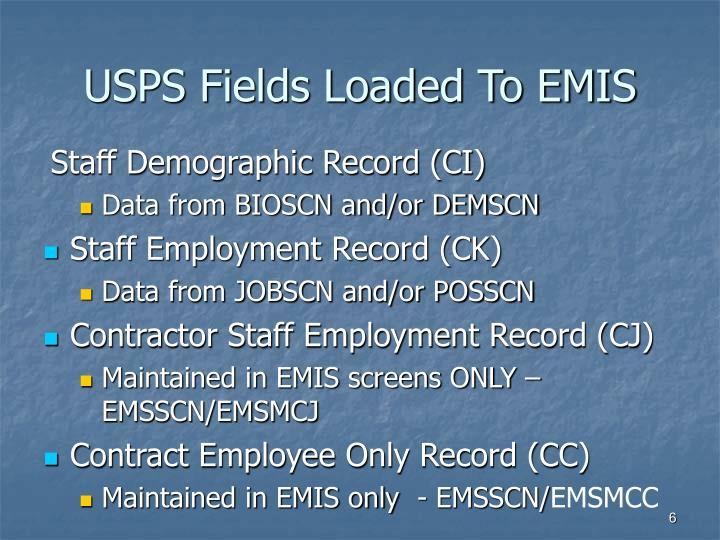 USPS Fields Loaded To EMIS