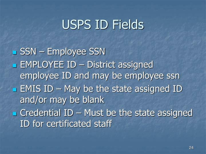USPS ID Fields