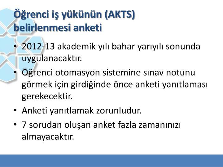 Öğrenci iş yükünün (AKTS)