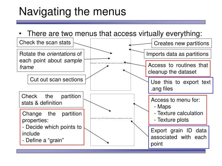 Navigating the menus