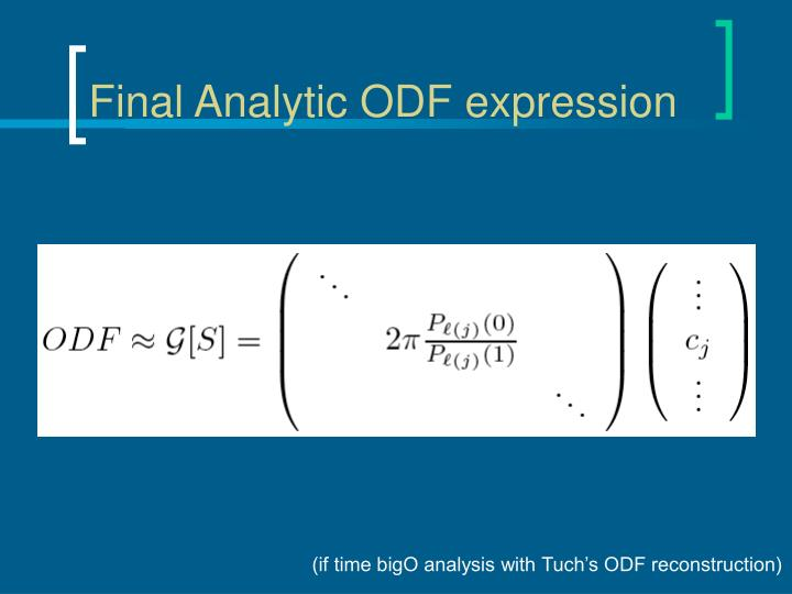 Final Analytic ODF expression