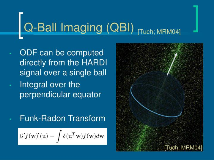 ODF can be computed directly from the HARDI signal over a single ball