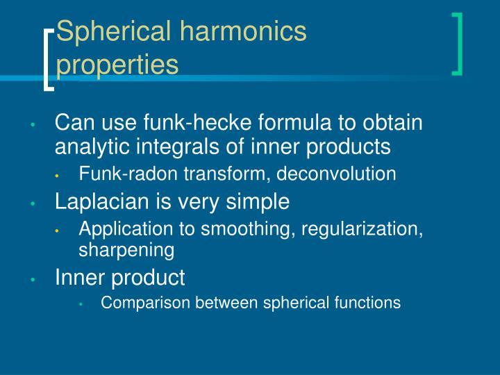 Spherical harmonics properties
