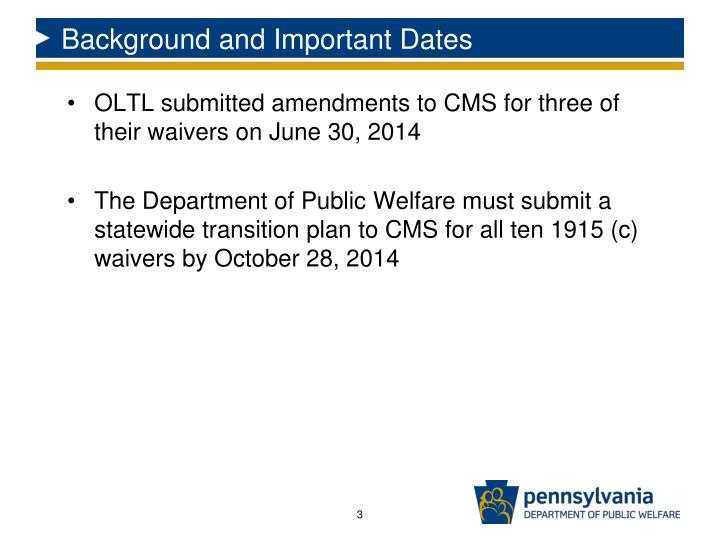 Background and Important Dates