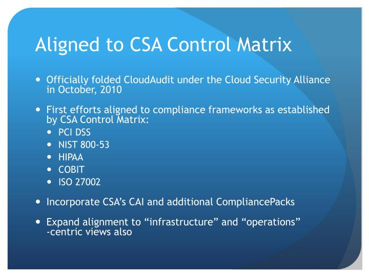 Aligned to CSA Control Matrix