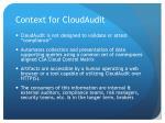 context for cloudaudit