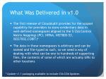 what was delivered in v1 0
