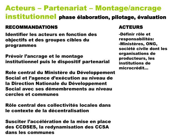 Acteurs – Partenariat – Montage/ancrage institutionnel