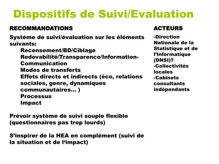Dispositifs de Suivi/Evaluation