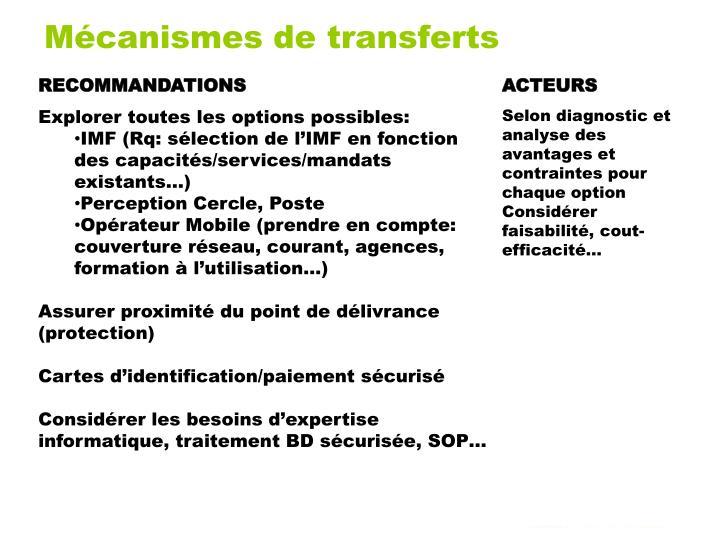 Mécanismes de transferts