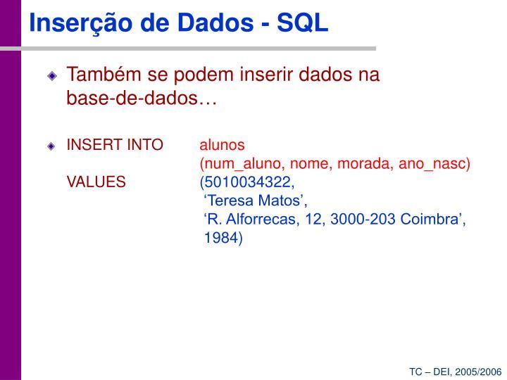 Inserção de Dados - SQL