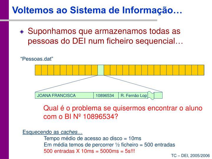 Voltemos ao Sistema de Informação…