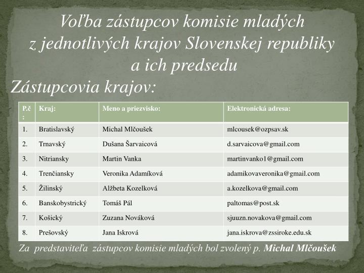 Voľba zástupcov komisie mladých
