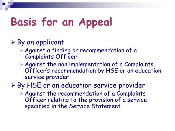 Basis for an Appeal