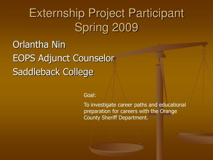 Externship Project Participant