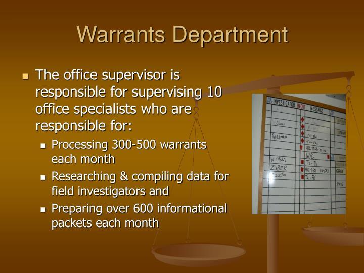 Warrants Department