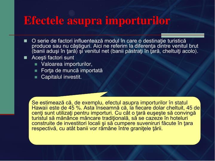 Efectele asupra importurilor