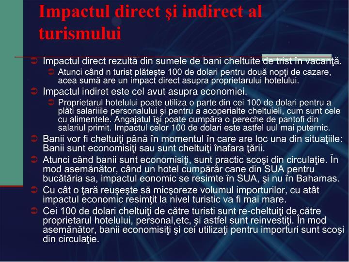 Impactul direct şi indirect al turismului