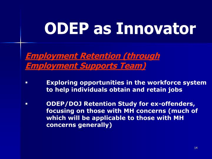 ODEP as Innovator